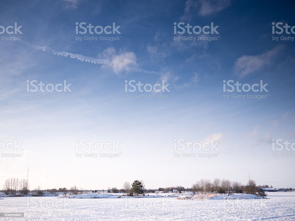 Winter Landscape with warm sunlight stock photo