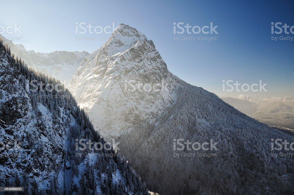 Winter landscape with Waxenstein summit near Garmisch - Germany stock photo