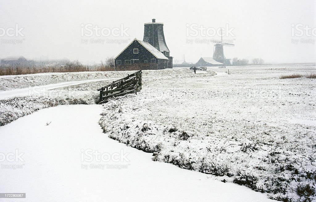 Winter landscape with windmills stock photo
