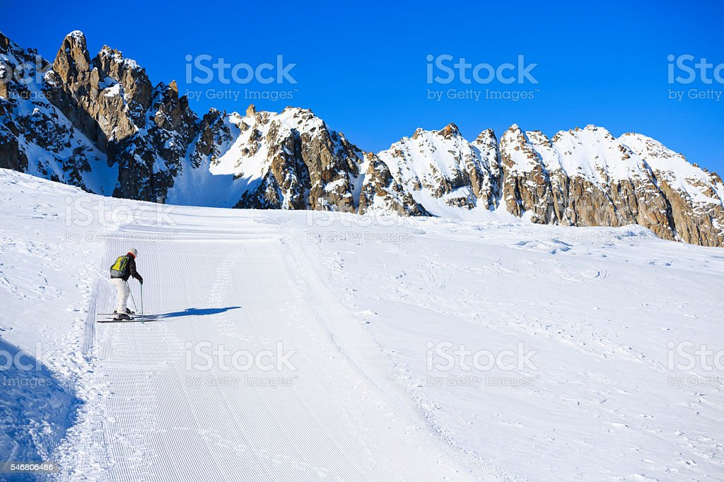 Winter landscape  Women snow skiers enjoying skiing stock photo