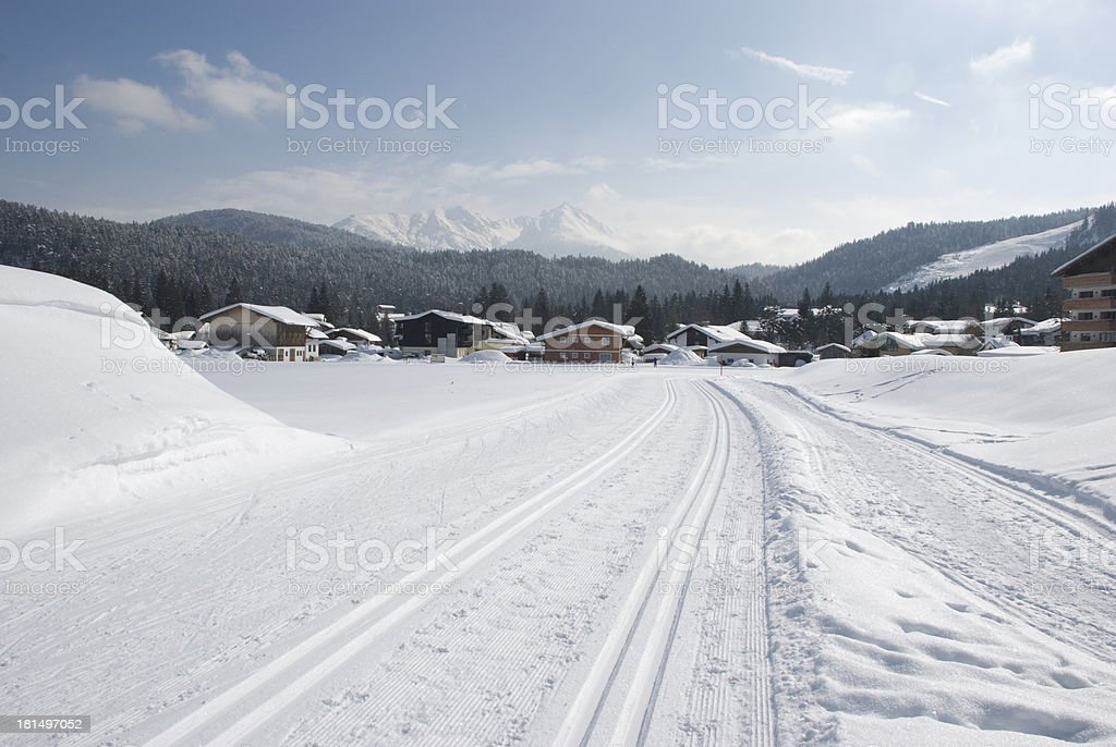 winter lanscape with cross-country skiing tracks stock photo