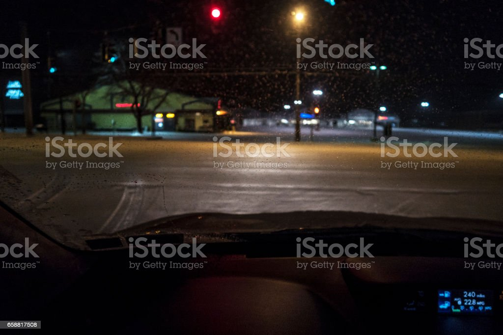 Winter Late Night Car Driver POV Blurry Frozen Windshield Ice stock photo