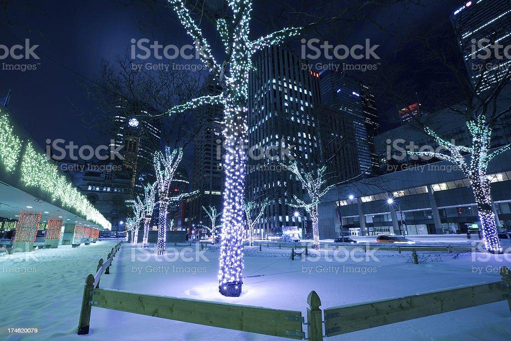 Winter lights in Toronto stock photo