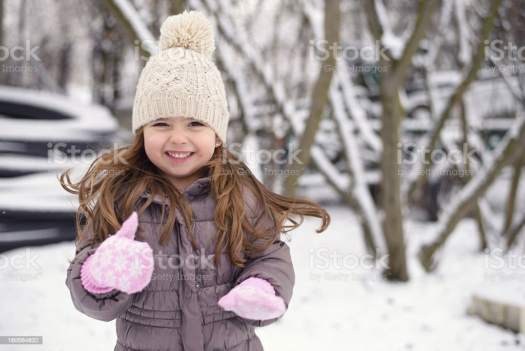 Winter little girl stock photo