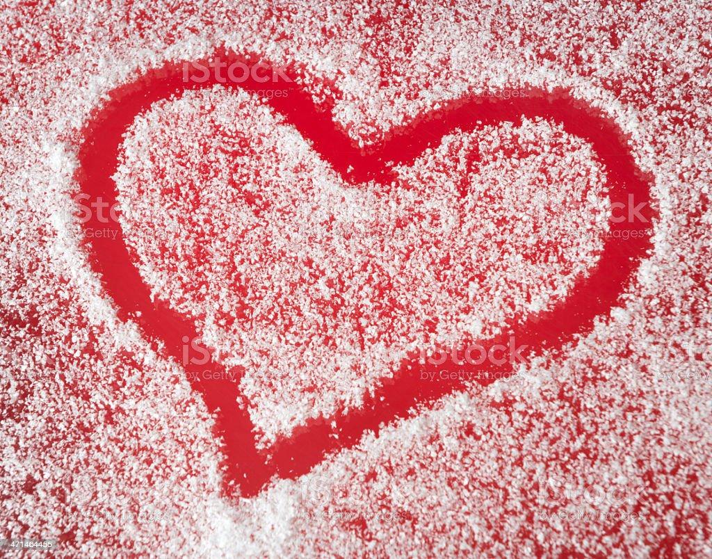 Winter Love, Snow Heart (XXXL) stock photo