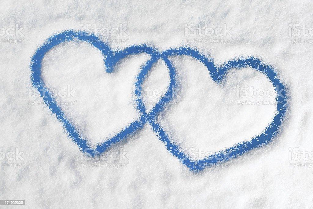 Winter Love, Snow Hearts on a Frozen Window (XXXL) royalty-free stock photo