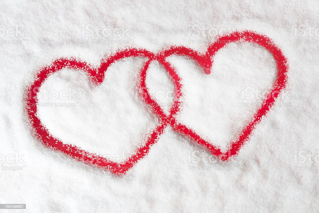 Winter Love, Snow Hearts (XXXL) royalty-free stock photo