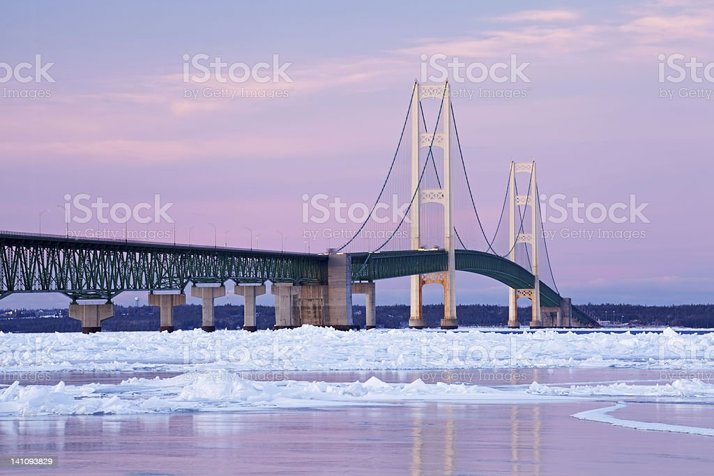 Winter, Mackinac Bridge stock photo