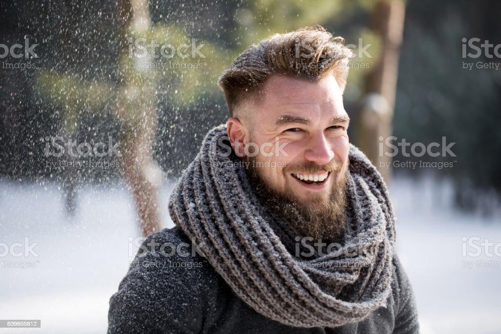 Winter makes me happy stock photo
