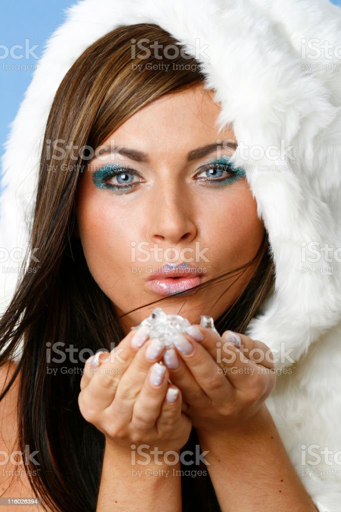 Winter Makeup Miss Frost royalty-free stock photo