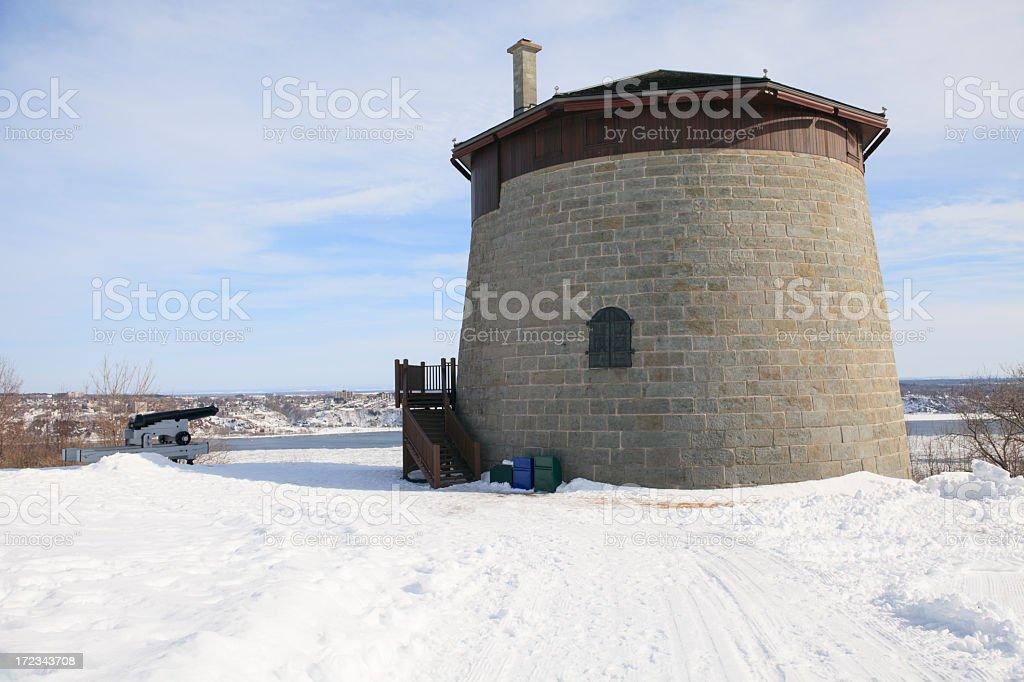Winter Martello Tower Quebec stock photo