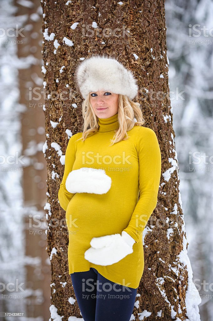 Winter maternity royalty-free stock photo