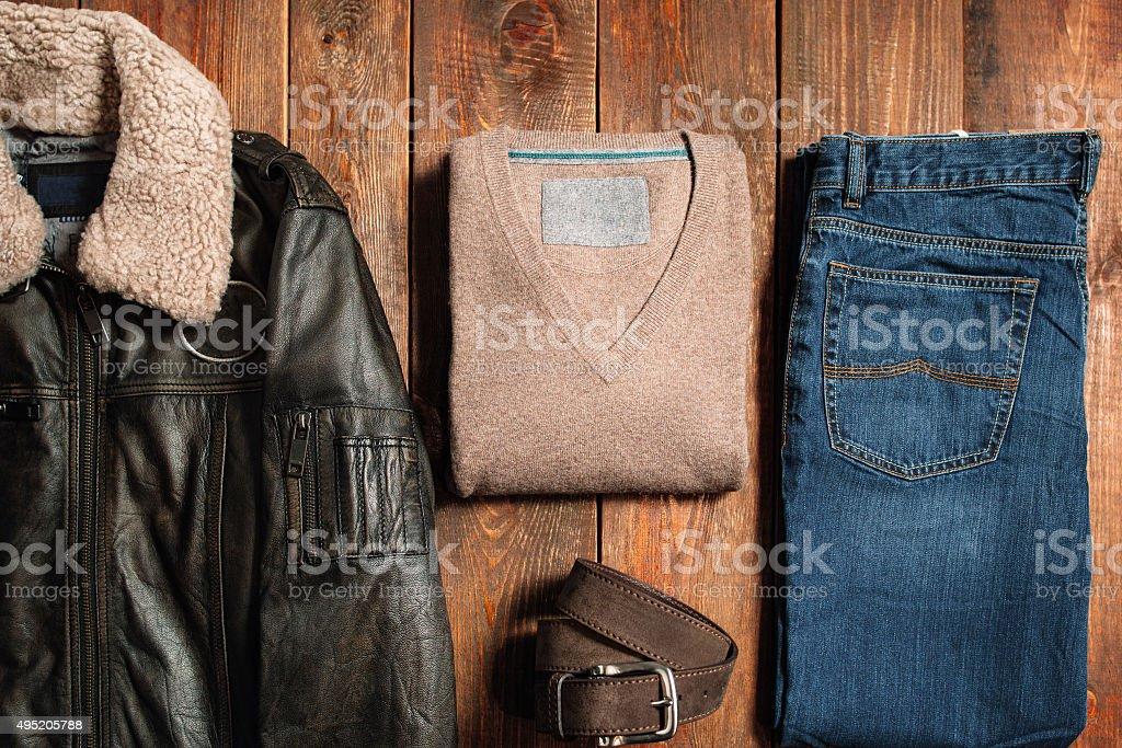 winter men's cloth set stock photo