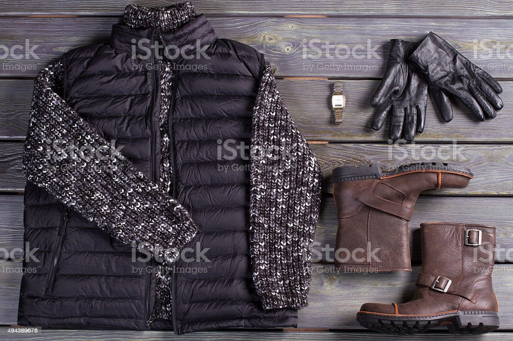 Winter men's clothes and accessories. stock photo