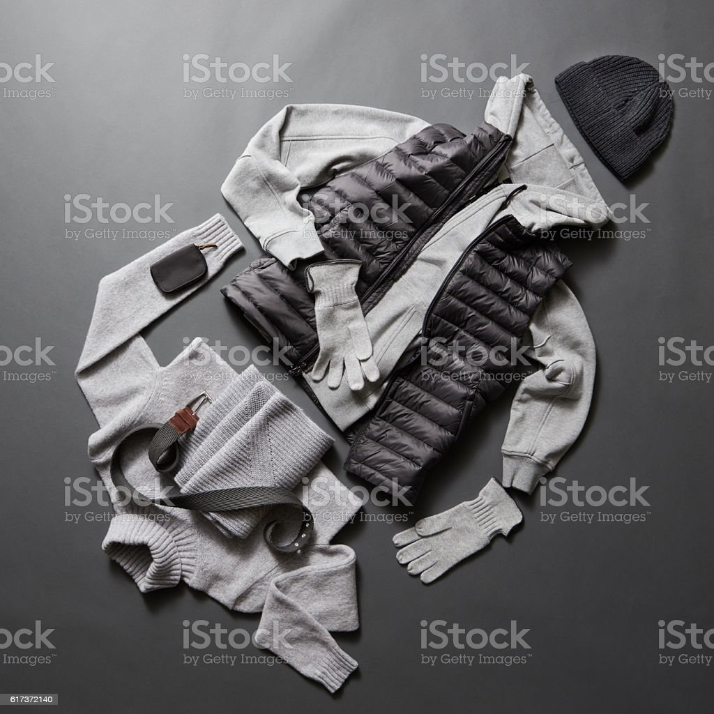 Winter men's clothes and accessories stock photo