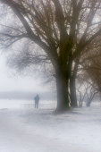 Winter mist and lonely senior man silhouette