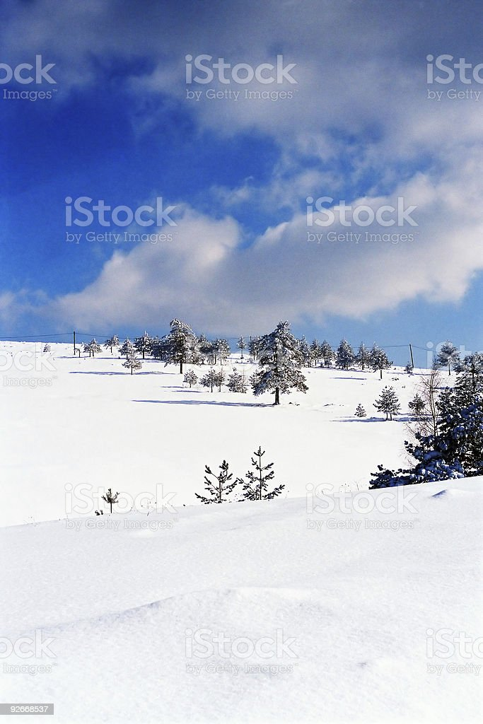 Winter Montain Scene royalty-free stock photo