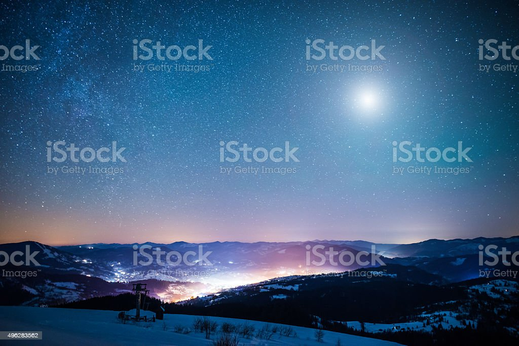 Winter moon stock photo