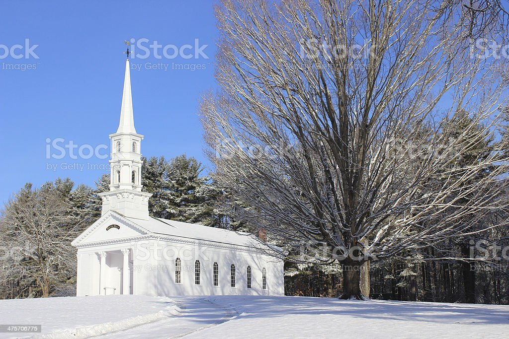 Winter Morning at A New England Chapel stock photo