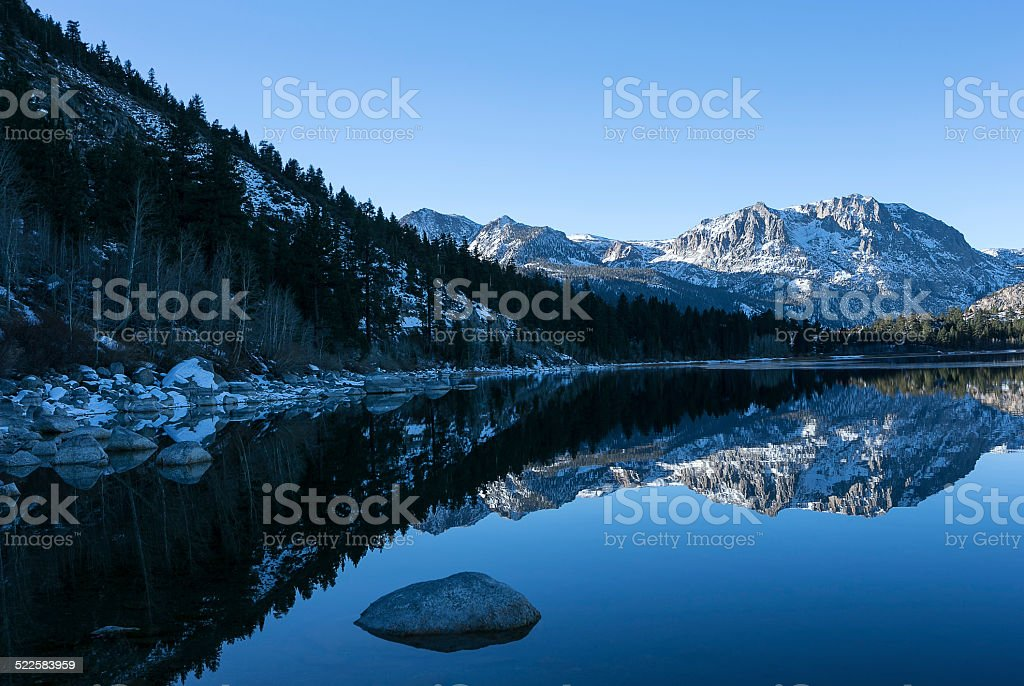 Winter Morning at June Lake stock photo