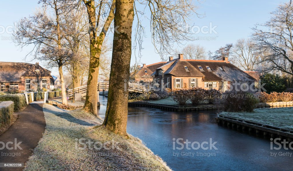 Winter Morning in Giethoorn Netherlands stock photo