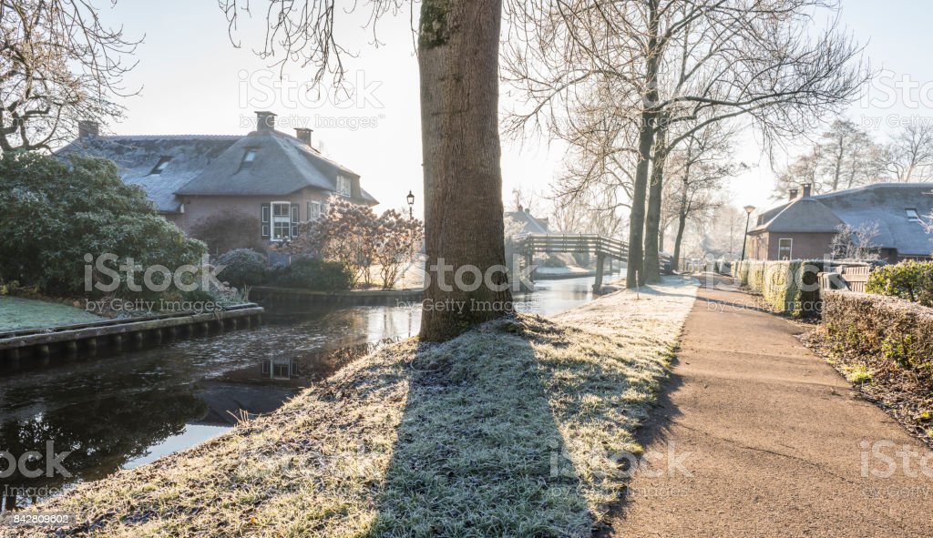 Winter Morning in Giethoorn stock photo