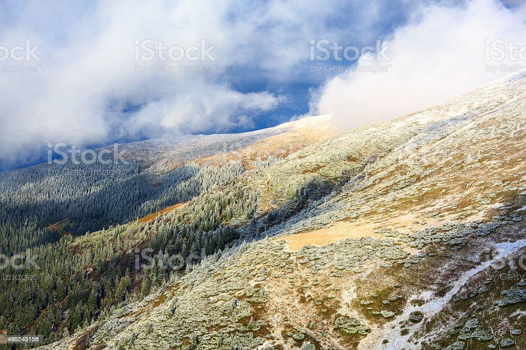 Matin d'hiver dans les montagnes photo libre de droits