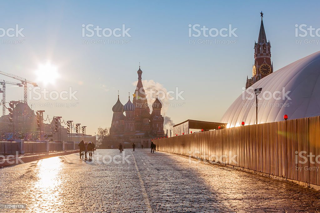 'Winter morning in Red Square, Moscow' stock photo