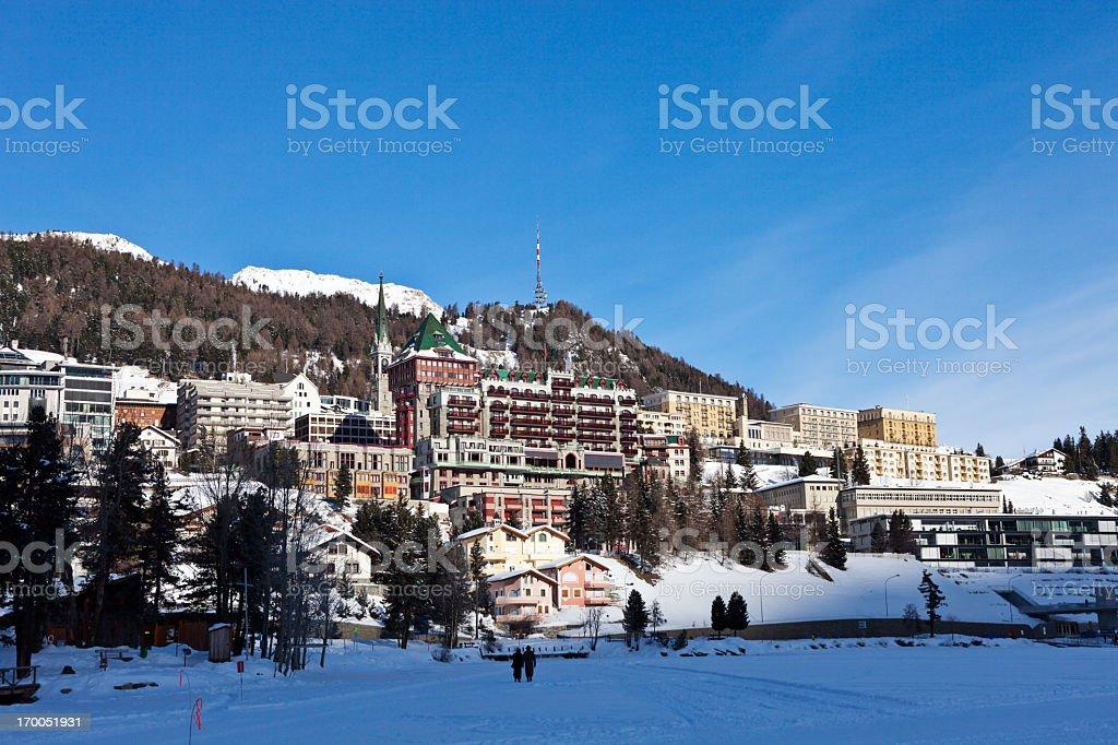 Winter Morning in St. Moritz stock photo