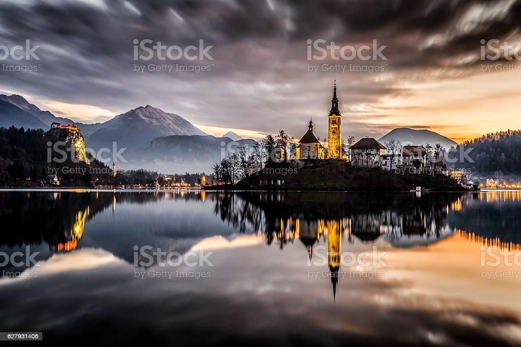 Winter morning on Bled stock photo
