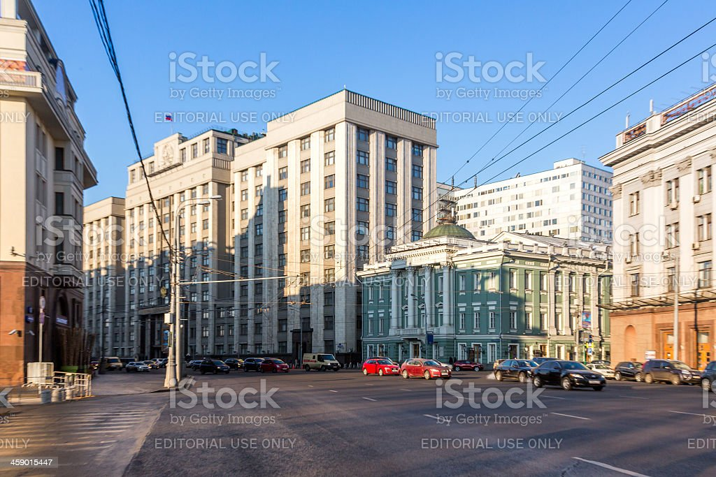 Winter morning on street of Moscow royalty-free stock photo
