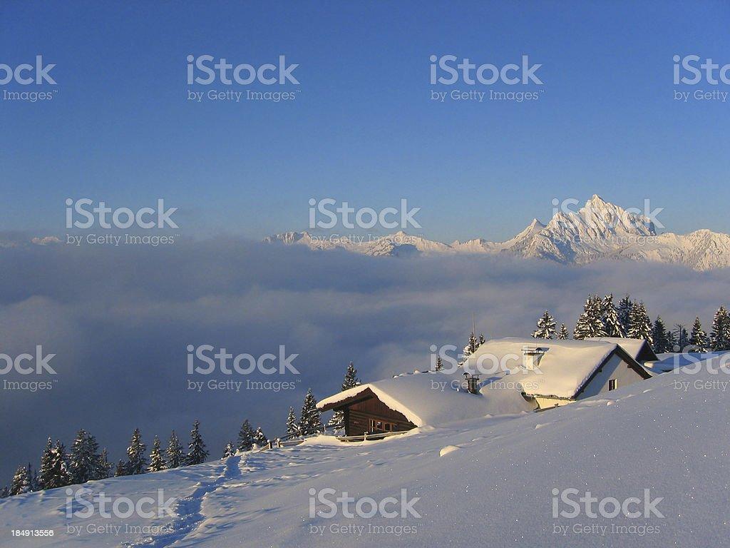 winter morning on the alp in tirol -austria stock photo