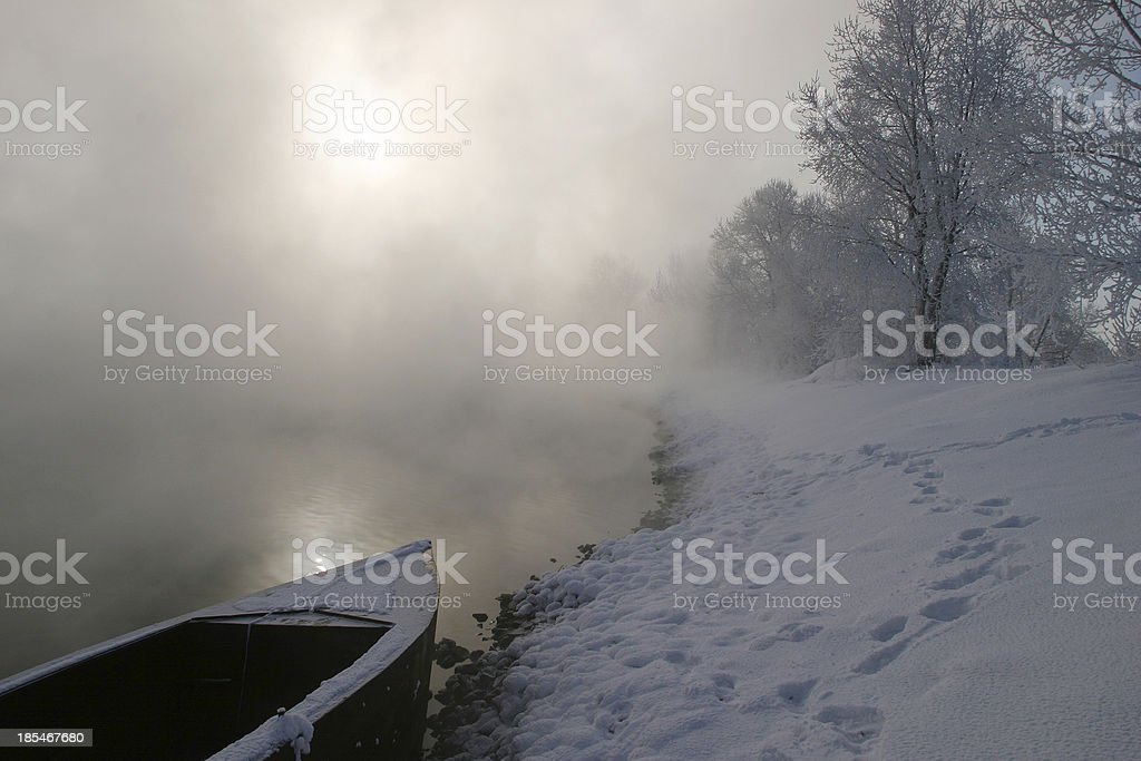 winter morning on the river royalty-free stock photo