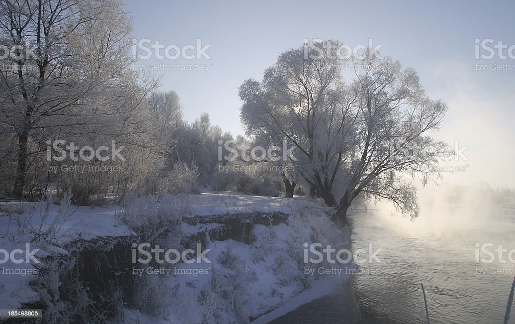 winter morning on the river Zai royalty-free stock photo