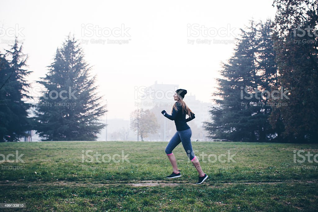 Winter morning run stock photo