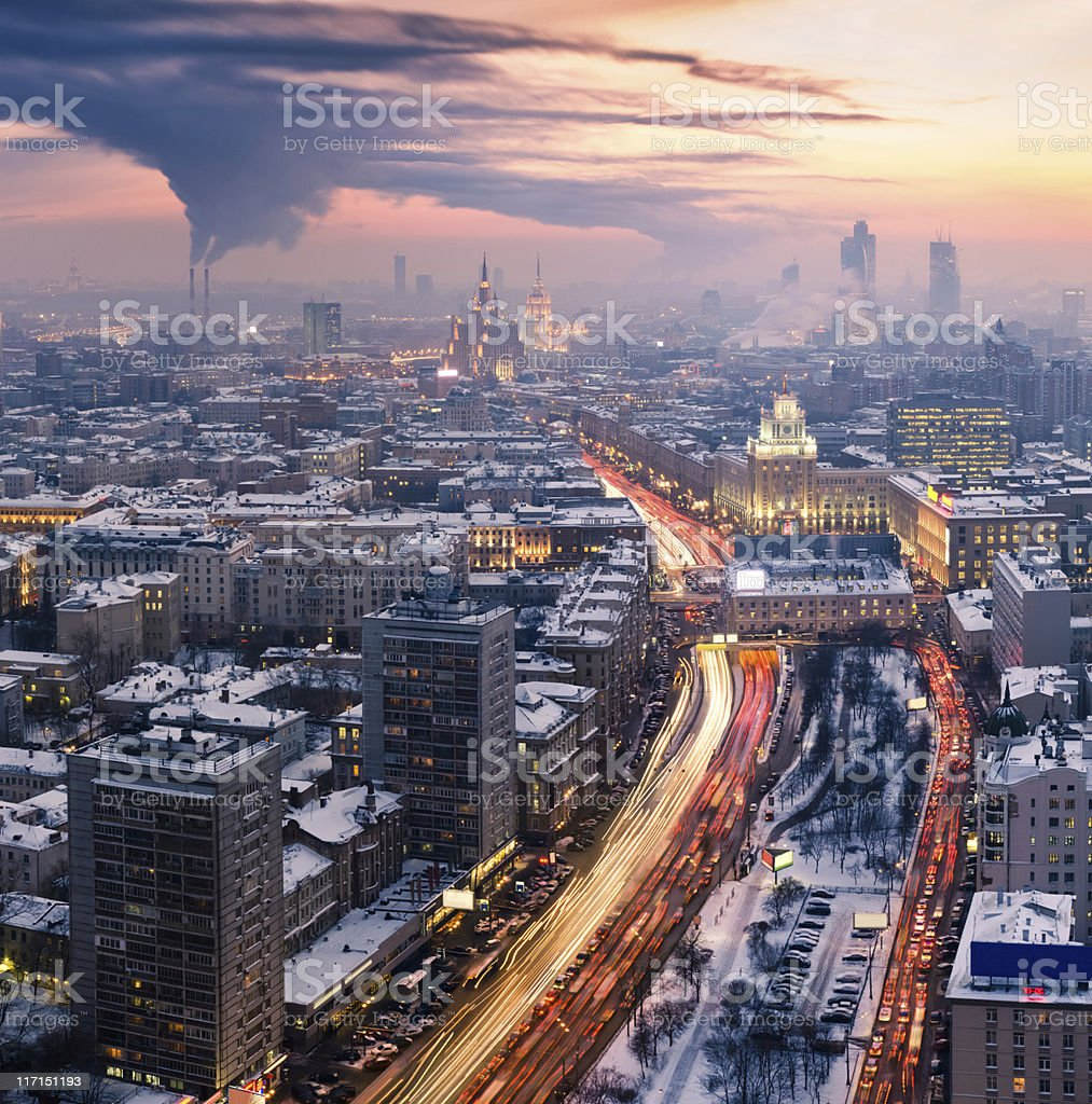 Winter Moscow cityscape at sunset. Aerial view stock photo
