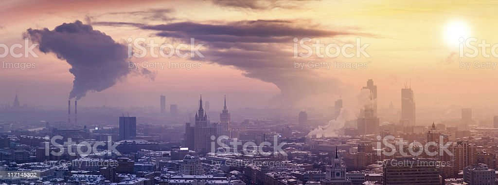 Winter Moscow cityscape at sunset. Panoramic view stock photo