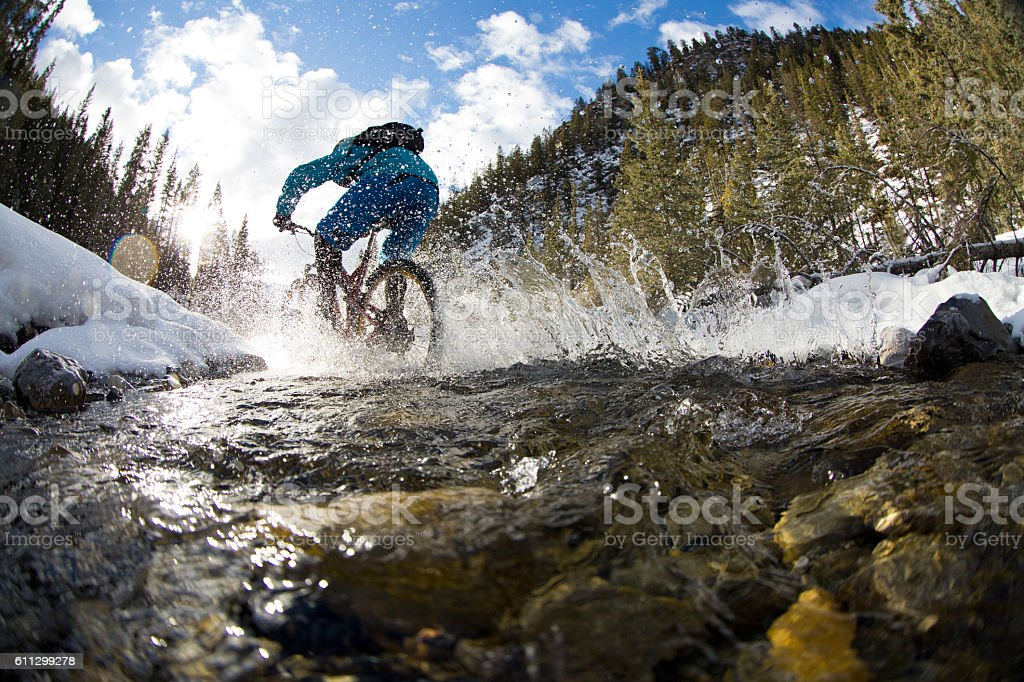 Winter Mountain Bike Creek Crossing stock photo