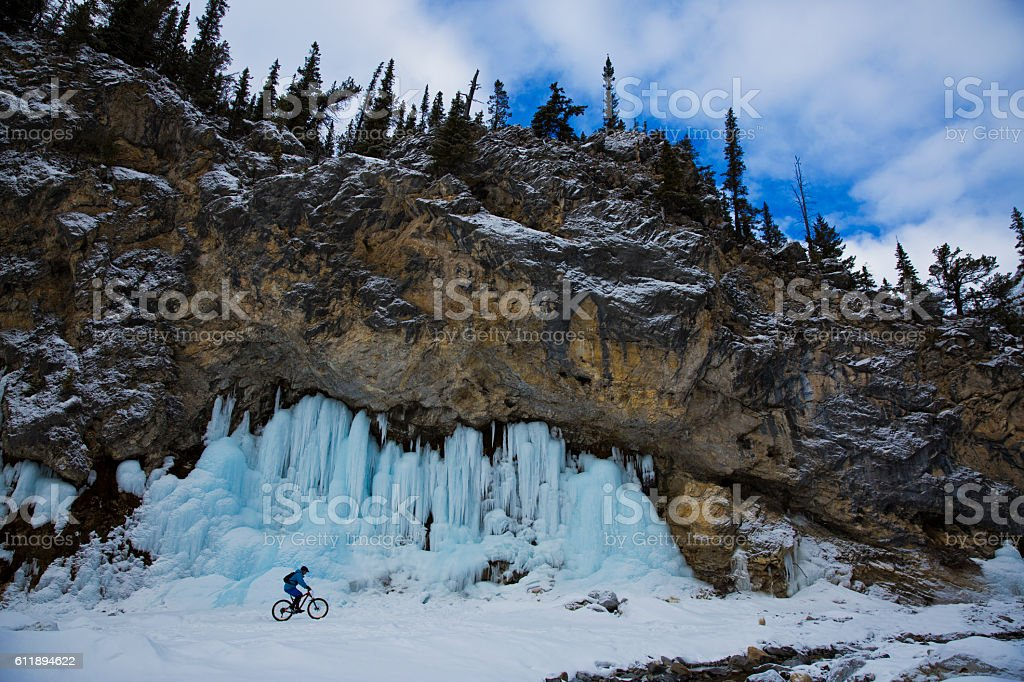 Winter Mountain Bike Rider stock photo