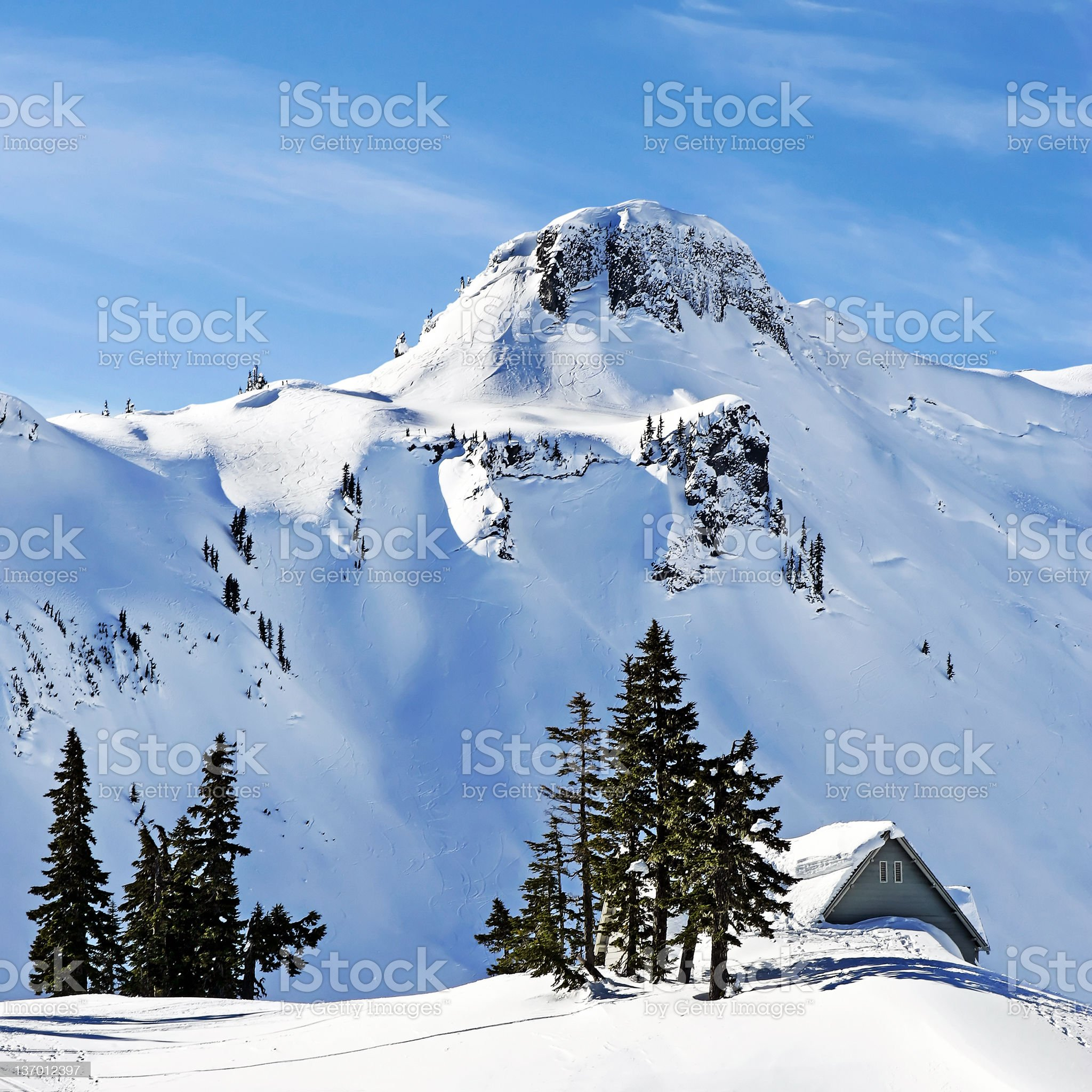 winter mountain chalet royalty-free stock photo