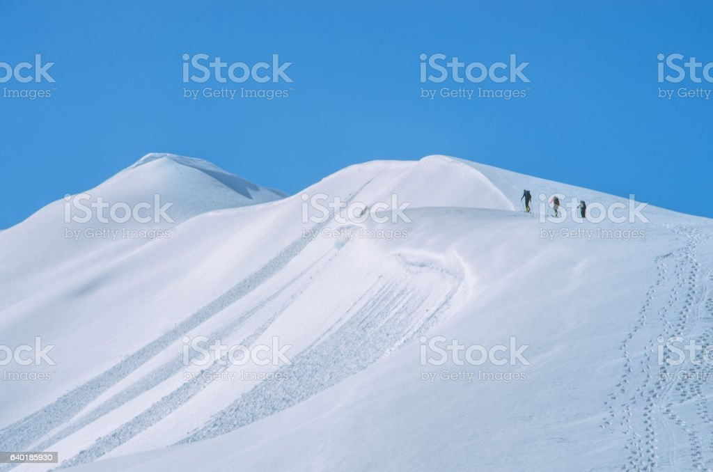 Winter mountain expedition in Garibaldi provincial park stock photo