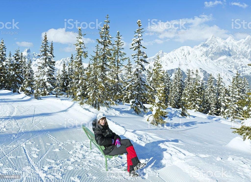 Winter mountain fir forest landscape stock photo