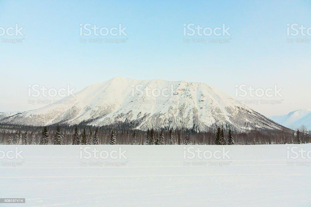 winter mountain in Kirovsk, the Khibiny mountains stock photo