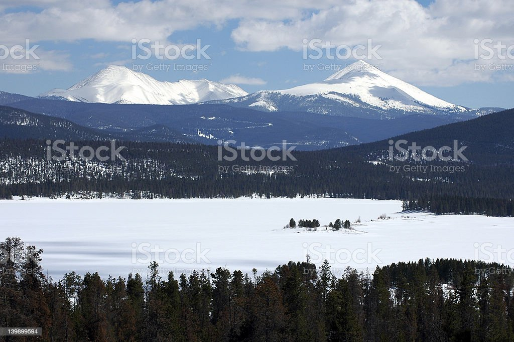 winter mountain lake stock photo