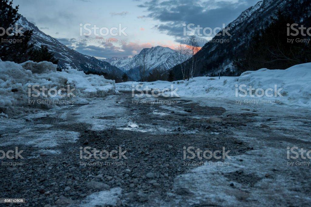 Winter mountain landscape at sunset. stock photo