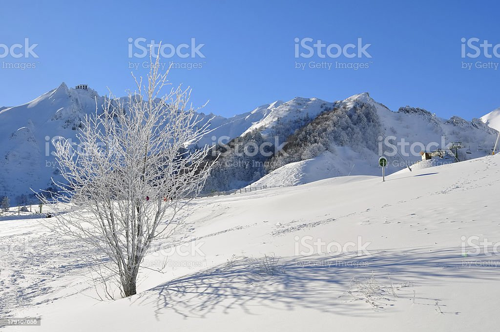 winter mountain landscape in a ski resort royalty-free stock photo