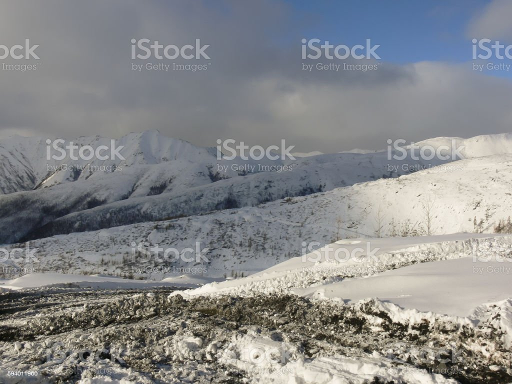 Winter mountain landscape in Yakutia stock photo