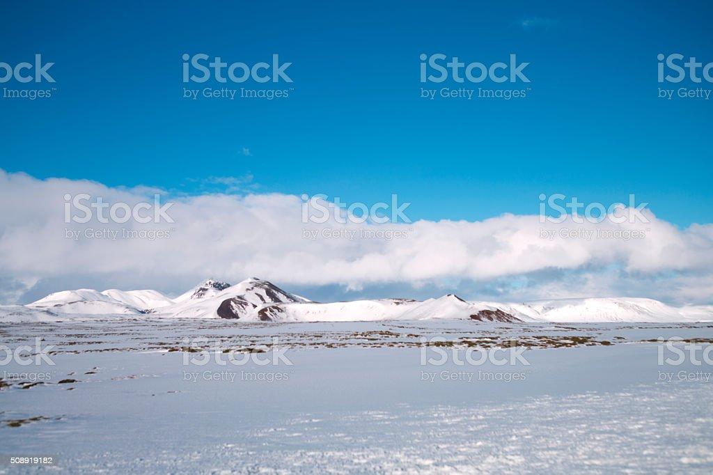 Winter mountain landscape, North Iceland stock photo