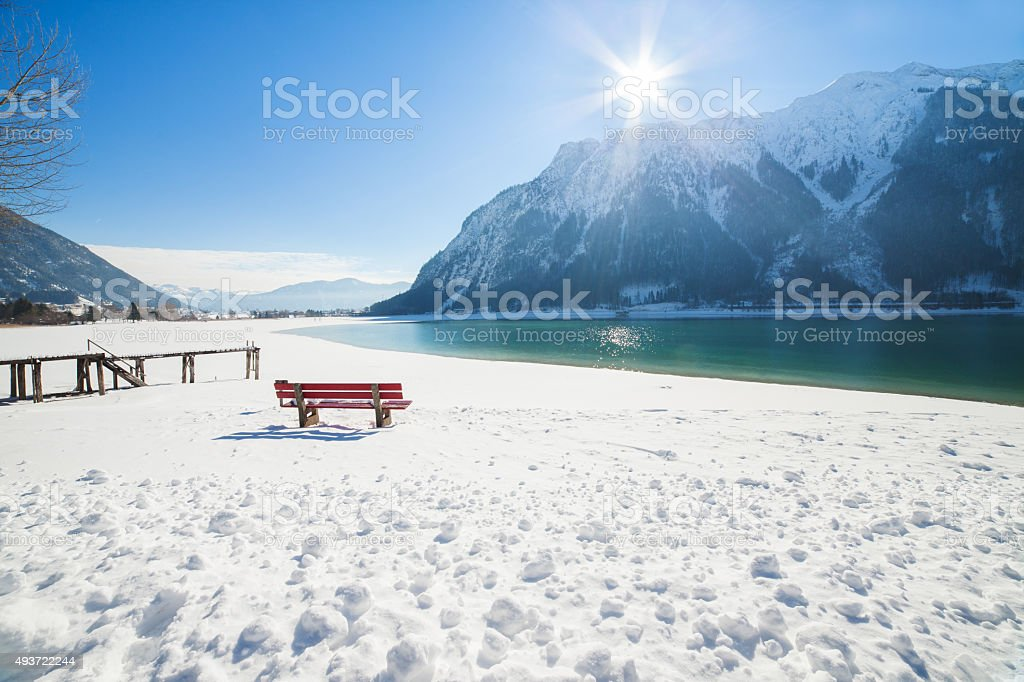 Winter mountain landscape on a sunny day. Achensee, Austria, Tirol stock photo