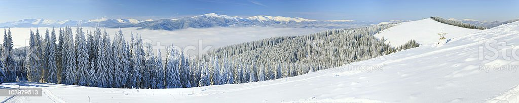 winter mountain landscape (panorama) royalty-free stock photo